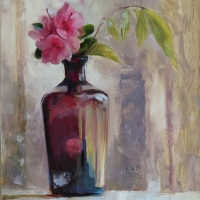 Azaleas in an Old Bottle